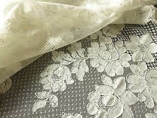 Vtg Antique French ALENCON Net LACE TABLECLOTH Flowers Chantilly 72x108 Ivory