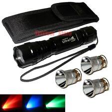 UltraFire 501B CREE Red/Gree/Blue light Bulb LED 1Mode Tactical Flashlight Set