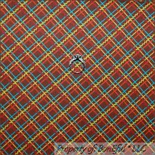 BonEful Fabric FQ Cotton Quilt Brown Red Blue Gingham Stripe PLAID Check Calico