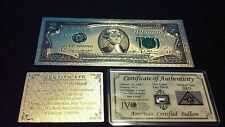 NEW-Style COLLECTIBLE 24K GOLDEN $2.00 Rep.*Banknote W/COA+SILVER Bar~FREE SHIP~