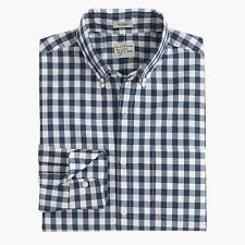 J. CREW Gingham SHIRT Medium BLUE White CHECKED Cotton SLIM Fit 31205 NAVY Size*