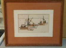 Mid century trawler boat art original signed by M. Dow 1970 geo lines