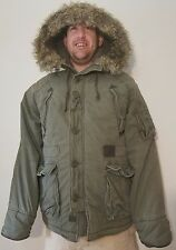 Abercrombie Fitch mens L Mt Washington Hooded Winter Parka Coat Jacket fur hood