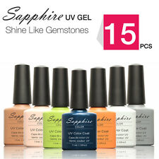 Sapphire Lot of 15pcs Soak-Off UV Gel Polish Nail Polish 7.3ml