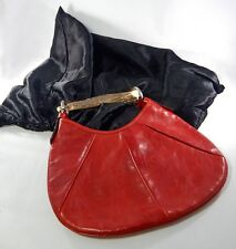 Authentic TOM FORD YSL YVES SAINT LAURENT Red Leather MOMBASA Hobo HORN BAG