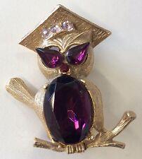 Too Cute!!! Vintage Purple & Pink Rhinestone Cute Professor Owl Goldtone Brooch