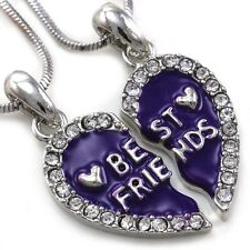 Best Friends Forever BFF Lavender Purple Heart Pendant Necklace Clear Stone a2