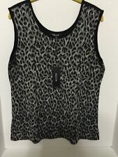 Misook Trudy Reversible Animal-Print Black/Multi Scoop-Neck Tank Size S NWT