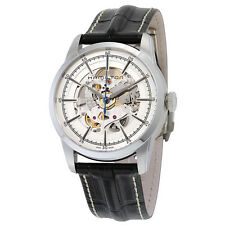 Hamilton Railroad Silver Skeleton Dial Black Leather Mens Watch H40655751