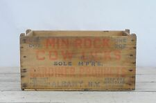 Vintage Wood MIN-ROCK Cow Lick's Shipping Crate Box Advertising Piece