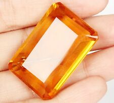 144.10 Ct. Certified Yellow Citrine 36 mm Emerald Cut Loose Gemstone ebay A3-448