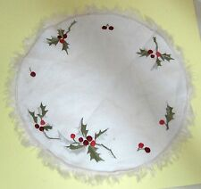 Antique Silk Embriodery Christmas Holly & Berry Doily 10 Inches NICE!  T64