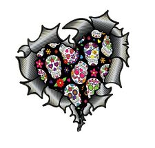 HEART Shape Carbon Fibre Ripped Metal & Mexican Sugar Skull pattern car sticker