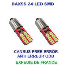 2 AMPOULES LED HYUNDAI SANTA FE BAX9S H6W 24 SMD BLANC CANBUS 12V