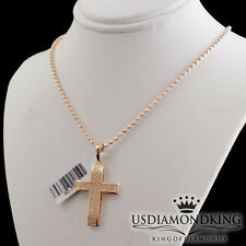 LADIES MEN'S ROSE GOLD OVER STERLING SILVER DIAMOND CROSS CHARM CHAIN NECKLACE
