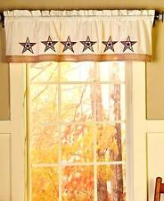 Primitive Country Barn Star Window Valance Embroidered Western Star Valance