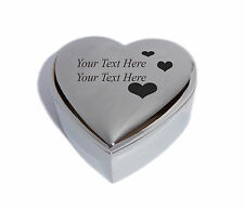 Personalised Heart Trinket Jewellery Box with Love Hearts - Engraved & Free P&P