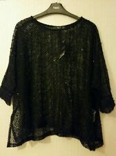 "BNWT ""NEXT"" 6,8(UK) BLACK OVERSIZED TOP , CROCHET  SEQUIN  TOP, GOTH.,"