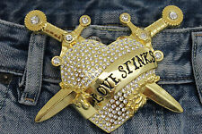 Men Women Big Gold Metal Belt Buckle Heart Western Silver Rhinestone Love Stinks