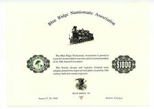 1999 Blue Ridge Numismatic Association Souvenir Card - Train  $1000  Eagle  Seal