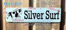 PIEBALD COB Stable door Sign Plaque Personalised Brushed SILVER Aluminium, Horse