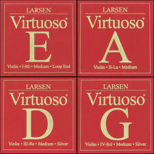 Larsen Virtuoso Violin String Set (E-Loop A D G) Medium Tension 4/4 Full Size