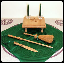 Altar Table English Oak Pentagram Athame, Wand & Besom Set with Candle Holders H
