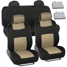 Black & Beige Seat Covers for Car Auto SUV Polyester Cloth Integrated Headrests