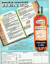 PUBLICITE ADVERTISING 106  1958  Hennessy  cognac  Henco