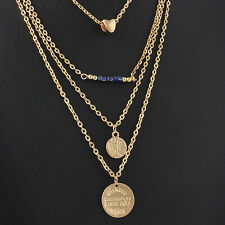 Bohemian Sexy Charms Multilayers Love Heart Bead Bar Coin Pendant Necklace Chain