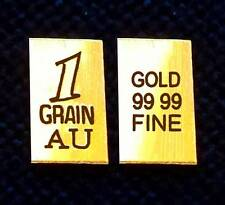 (x10 INGOTS)  24k FINE Gold .999 Pure 1Grain Bullion Bar 24ct