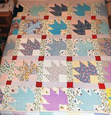 "Vintage 1940's Bear Paw - 7 Patch Quilt - Hand Sewn - 70 x 72"" - Nice!"