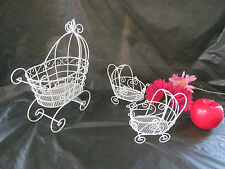Set of 3 Wire Baby Carriages for Baby Shower Decorations            #1005/1275