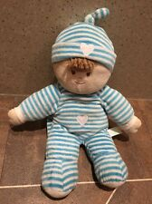 RUSS BERRIE BLUE STRIPEY BOY DOLL TEDDY BABY SOFT HUG COMFORTER TOY RATTLE