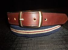 HBT Leather & Canvas BRASS BUCKLE BELT Men's Size 39