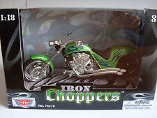 Iron Choppers grün (1), Custom Chopper, MotorMax Motorrad Modell 1:18