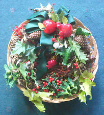 "13"" basket of Christmas artificial apples ivy holly pine cones on straw base"