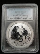 2016 1oz .999 Fine Silver Australian Lunar Monkey Lion Privy PCGS MS69