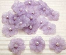 70 Purple Cute Organza Flower w/ Pearl Dolls/Wedding Appliques
