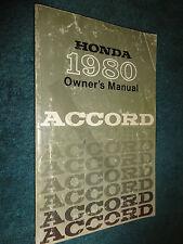 1980 HONDA ACCORD OWNERS  MANUAL / ORIGINAL HONDA GUIDE BOOK