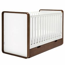 East Coast Nursery Furniture Cuba Cot Bed and Storage Drawer In White/Brown