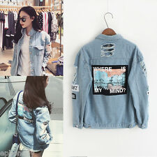 New Womens Oversize Ripped Denim Jean Jacket Korean Boyfriend Short Casual Coat