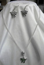 BEAUTIFUL SHEEP LAMB PENDANT NECKLACE & EARRINGS SET TIBETAN SILVER DOUBLE SIDED