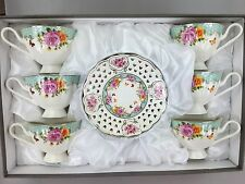 Coffee Tea Cups & Saucers Set of 12 Pieces Bone China Mint & White