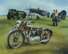 Triumph Speed Twin Hawker Tempest Motorcycle Motorbike Plane Painting Art Print