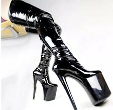 Thigh High Patent Leather Platform Boots High Heels, Size UK 9 NEW - RRP £300