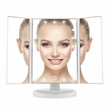 Easehold Bright Touch Screen Tri-Fold Illuminated Makeup Mirror 21 LED & USB【US】