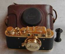 Leica II D regular D.R.P. copy gold in leather case (FED Zorki copy)
