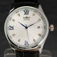 New Men Dress Watches Hand-Wind Mechanical Watch Vintage Black Leather Strap A2