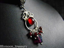 Victorian style pendant silk choker necklace set garnet red glass cabochon GOTH